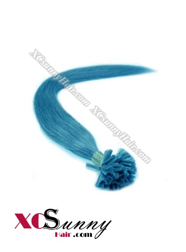 18 Inch - 26 Inch Silk Straight #Blue Nail Tip Human Hair Extensions 1g*50s [NUTS15022]