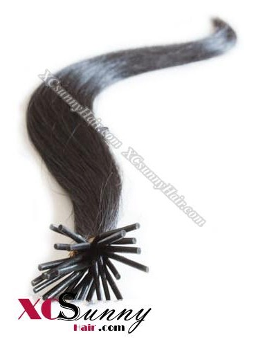 16 Inch - 26 Inch Silk Straight #1B Stick Tip Human Hair Extensions 0.5g*100s [SUTS51002]