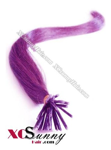16 Inch - 26 Inch Silk Straight #Purple Stick Tip Human Hair Extensions 0.5g*50s [SUTS55025]