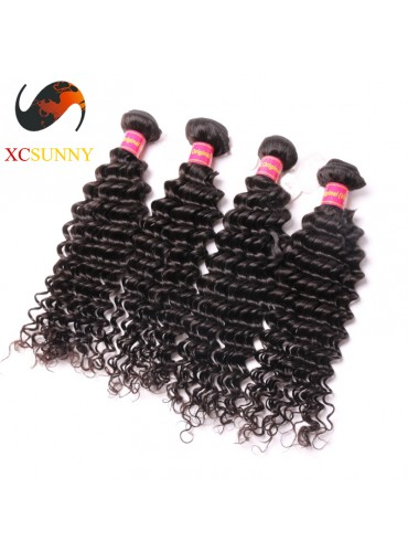 Wholesale Mix Length 4pcs-12-26 Inch 8A Deluxe Deep Wave 100% Brazilian Virgin Hair Weave Remy Human Hair Weft 100g/pcs [BHV114]