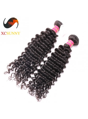 Wholesale Mix Length 2pcs-12-26 Inch 8A Deluxe Deep Wave 100% Brazilian Virgin Hair Weave Remy Human Hair Weft 100g/pcs [BHV107]