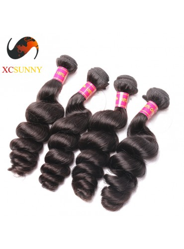 Wholesale Mix Length 4pcs-12-26 Inch 8A Deluxe Loose Wave 100% Brazilian Virgin Hair Weave Remy Human Hair Weft 100g/pcs [BHV113]