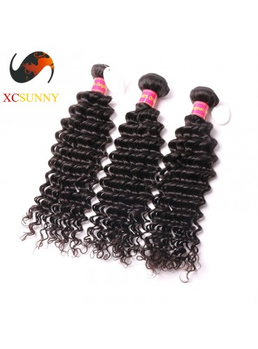 Wholesale Mix Length 3pcs-12-26 Inch 8A Deluxe Deep Wave 100% Brazilian Virgin Hair Weave Remy Human Hair Weft 100g/pcs [BHV110]
