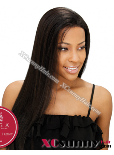 16 Inch Silky Straight #1B Glueless Lace Front Wigs 100% Indian Remy Human Hair [GLH045]