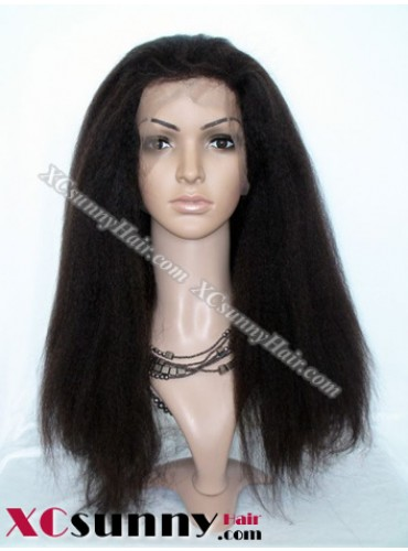 18 inch Kinky Straight  #2 Lace Front Wigs 100% Indian Remy Human Hair [LFH206]
