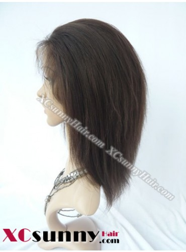 8 Inch Yaki Straight #2 Glueless Full Lace Wigs 100% Indian Remy Human Hair [GFYS025]