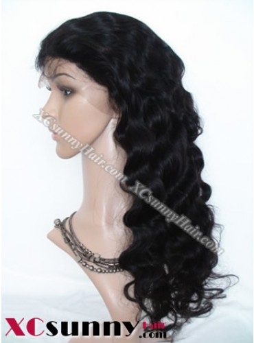 20 inch Body Wave #1B Lace Front Wigs 100% Indian Remy Human Hair [LFH216]