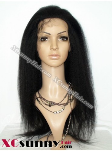 18 inch Kinky Straight  #1B Lace Front Wigs 100% Indian Remy Human Hair [LFH204]