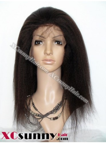 14 inch Kinky Straight #2 Lace Front Wigs 100% Indian Remy Human Hair [LFH207]