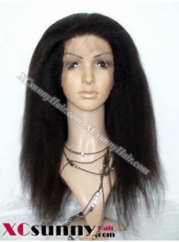 16 inch Kinky Straight #1B Lace Front Wigs 100% Indian Remy Human Hair [LFH203]