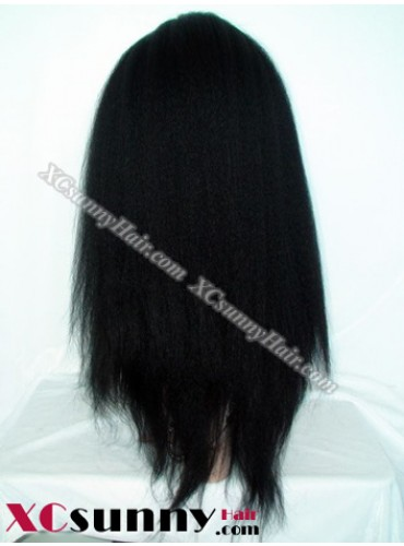 18 Inch Kinky Straight #1B Full Lace Wigs 100% Indian Remy Human Hair [FLH247]