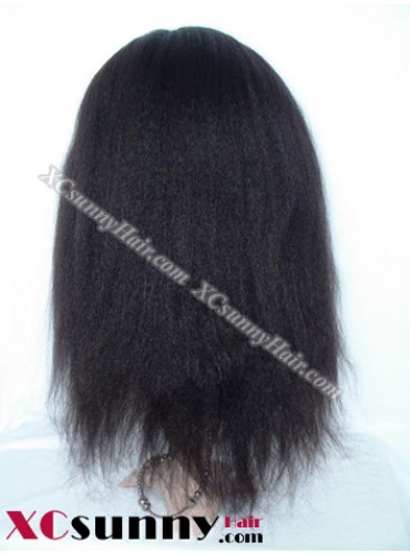 16 Inch Kinky Straight #1B  Glueless Full Lace  Wigs 100% Indian Remy Human Hair [GFH096]