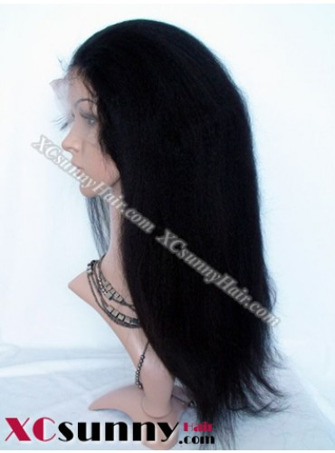 16 Inch Kinky Straight #1 Glueless Full Lace  Wigs 100% Indian Remy Human Hair [GFH097]