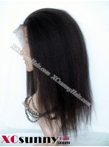 14 Inch Kinky Straight #2 Glueless Full Lace Wigs 100% Indian Remy Human Hair [GFH098]