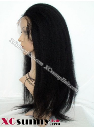 18 Inch Kinky Straight #1B Glueless Lace Front Wigs 100% Indian Remy Human Hair [GLH091]