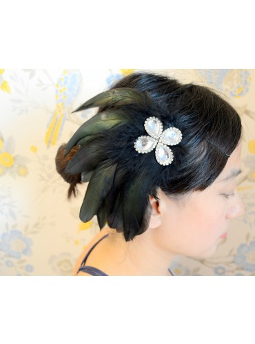 Natural Black Bridal Feather Wedding Fascinator Headpiece Hair Accessory [IRISF010]