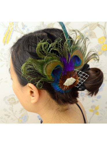 Peacock Eyes Bridal Feather Wedding Fascinator Headpiece Hair Accessory [IRISF011]