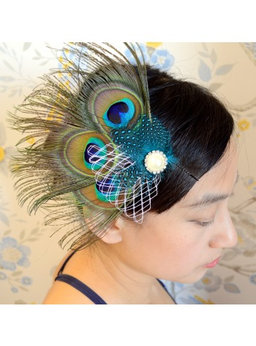 Peacock Eyes with Guinea Feather Bridal Wedding Fascinator Headpiece Hair Accessory [IRISF012]