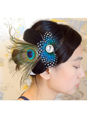 Peacock Eyes with Guinea Feather Bridal Wedding Fascinator Headpiece Hair Accessory [IRISF013]