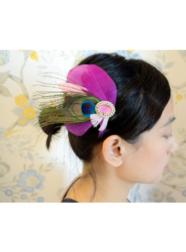 Peacock Eyes with Pink Goose Feather Bridal Wedding Fascinator Headpiece Hair Accessory [IRISF015]