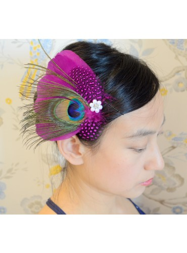 Peacock Eyes with Pink Guinea fowl Feather Bridal Wedding Fascinator Headpiece Hair Accessory [IRISF016]