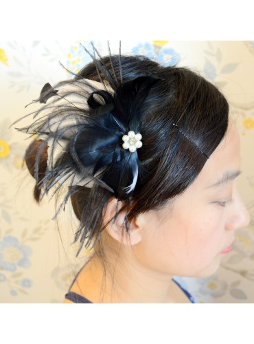 Black Bridal Feather Wedding Fascinator Headpiece Hair Accessory [IRISF002]