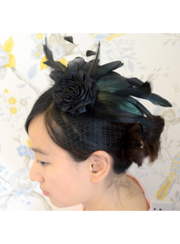 Black Bridal Feather Wedding Fascinator Headpiece Hair Accessory [IRISF003]