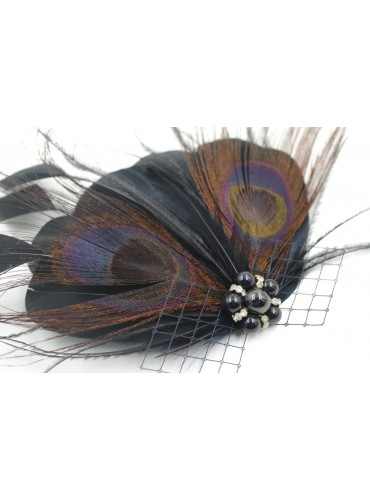 Black and Brown Bridal Feather Wedding Fascinator Headpiece Hair Accessory [IRISF004]
