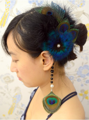 Turquoise Blue Bridal Feather Wedding Fascinator Headpiece Hair Accessory [IRISF006]