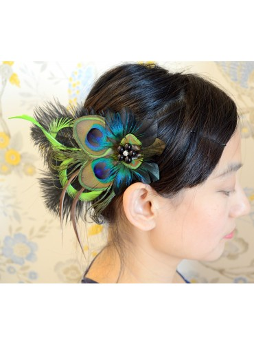 Peacock Eyes Bridal Feather Wedding Fascinator Headpiece Hair Accessory [IRISF007]