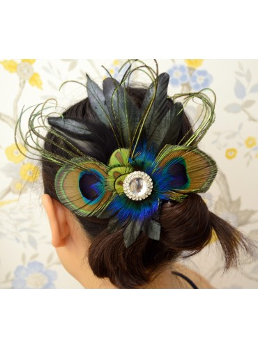 Peacock Eyes Bridal Feather Wedding Fascinator Headpiece Hair Accessory [IRISF09]
