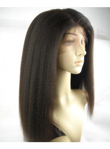 italian yaki in kinky style  Glueless Full Lace Wigs 100% Indian Remy Human Hair [GFH115]