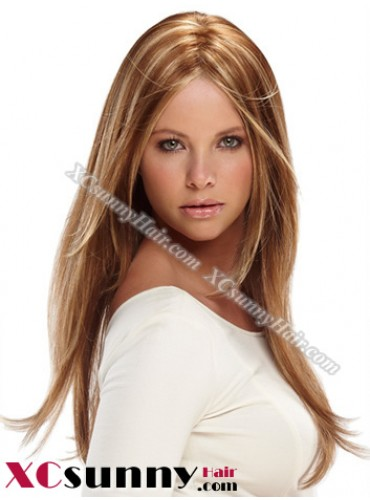 18 Inch Silky Straight #27/613 Glueless Lace Front Wigs 100% Indian Remy Human Hair [GLH096]