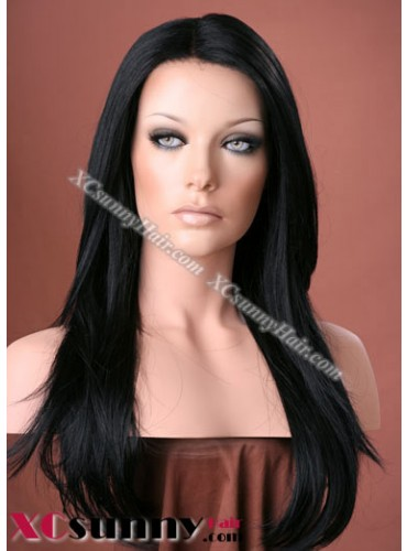 20 Inch Silky Straight #1 Glueless Lace Front Wigs 100% Indian Remy Human Hair [GLH99]