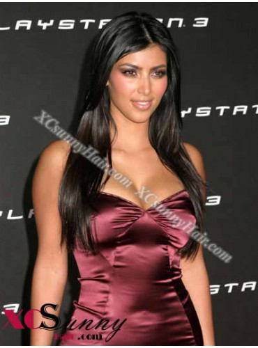 18 Inch #1B Full Lace Wigs Kim Kardashian Long Hairstyle 100% Indian Remy Human Hair Custom [CFL011]
