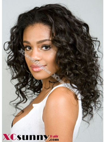 12 inch Curly Wave #1B Lace Front Wigs 100% Indian Remy Human Hair [LFH154]