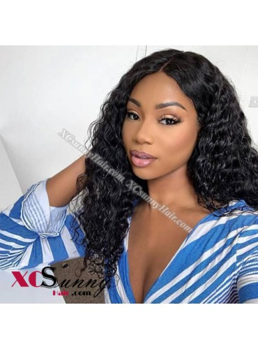 18 Inch Pre Plucked Water Wave 360 Lace Frontal Wig Brazilian Virgin Hair Wigs For Black Women, 4 Inch Swiss Lace Front Wig Wholesale - [LFW017]