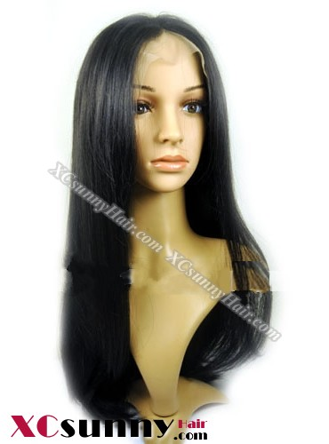 16 inch Silky Straight #1B Lace Front Wigs 100% Indian Remy Human Hair [LFH193]
