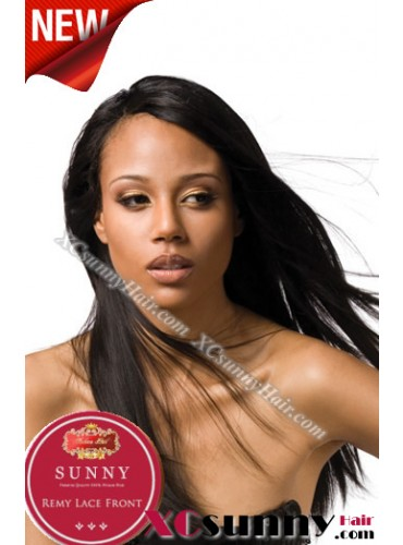 18 Inch Silky Straight #1B Glueless Lace Front Wigs 100% Indian Remy Human Hair [GLH079]