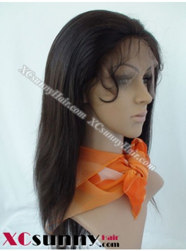 14 Inch Silky Straight #1B Glueless Full Lace Wigs 100% Indian Remy Human Hair [GFH093]
