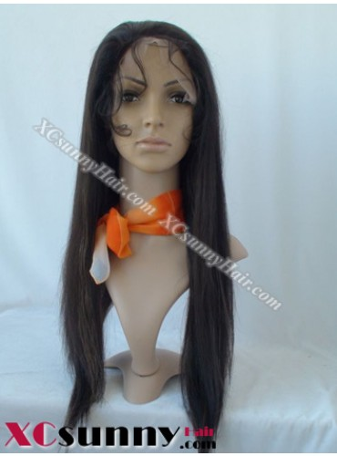 20 inch Silky Straight #1B Lace Front Wigs 100% Indian Remy Human Hair [LFH190]