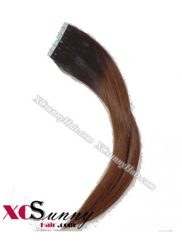 16 Inch - 26 Inch Silky Straight  Ombre #T1B/4 100% Indian Remy Human Hair Skin Weft Tape In Hair Extensions 40pcs 100g [SWTO001]