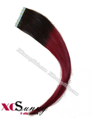 16 Inch - 26 Inch Silky Straight  Ombre #T1B/99j 100% Indian Remy Human Hair Skin Weft Tape In Hair Extensions 40pcs 100g [SWTO002]