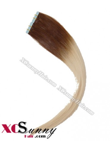 16 Inch - 26 Inch Silky Straight  Ombre #T4/613 100% Indian Remy Human Hair Skin Weft Tape In Hair Extensions 40pcs 100g [SWTO003]