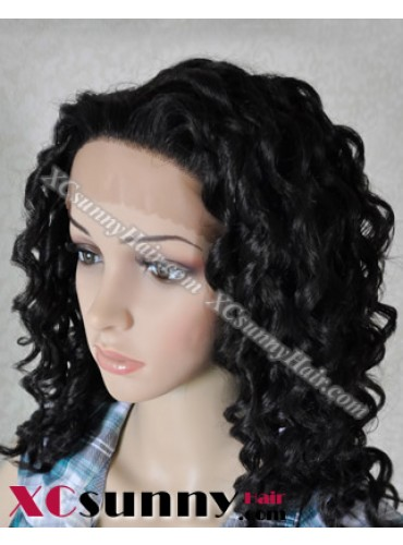 12 Inch Deep Wave #1B Glueless Lace Front Wigs 100% Indian Remy Human Hair [GLH007]