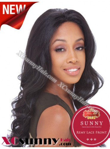 18 Inch Body Wave #1B Glueless Lace Front Wigs 100% Indian Remy Human Hair [GLH085]