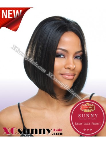 8 Inch Silky Straight #1B Glueless Full Lace Wigs 100% Indian Remy Human Hair [GFH009]
