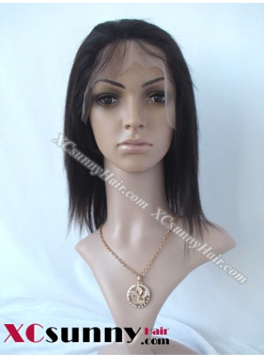 8 Inch Yaki Straight #1B/30 Glueless Full Lace Wigs 100% Indian Remy Human Hair [GFH095]
