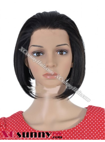 8  Inch Silky Straight #1B Glueless Lace Front Wigs 100% Indian Remy Human Hair [GLH027]